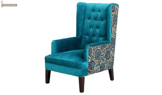Edwina Wingback Chair (Tuffted, Electric Turquoise)-4
