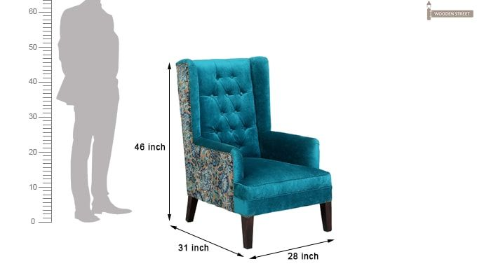 Edwina Wingback Chair (Tuffted, Electric Turquoise)-6