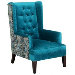 Edwina Wingback Chair (Tuffted, Electric Turquoise)