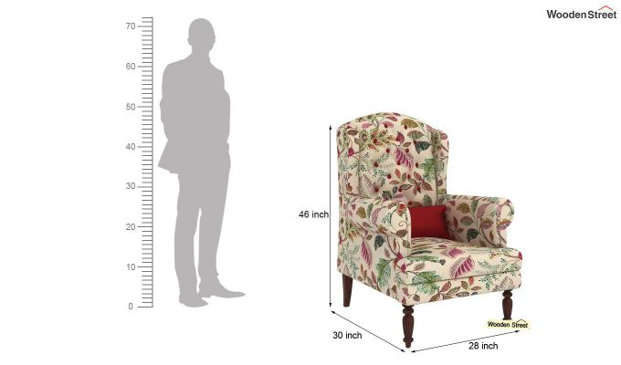 Danon Wingback Chair (Rosy Leaf)-4