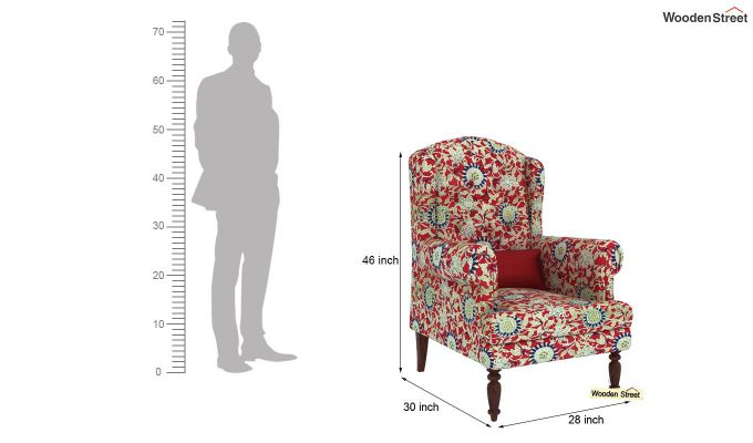 Danon Wingback Chair (Scarlet Blue)-4