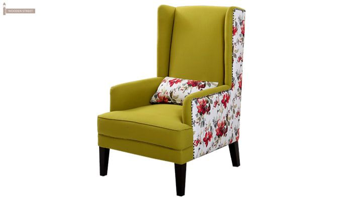 Edwina Wingback Chair (Canary Green)-3