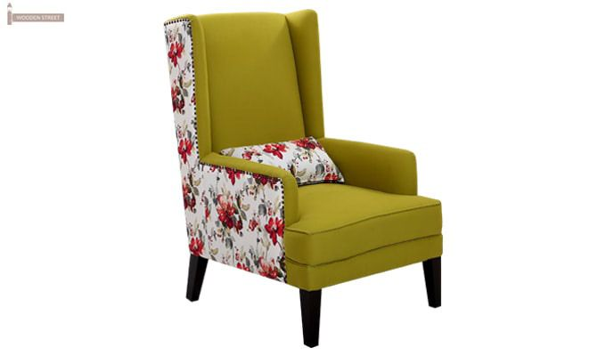Edwina Wingback Chair (Canary Green)-1
