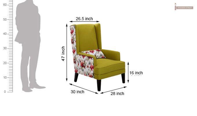 Edwina Wingback Chair (Canary Green)-5