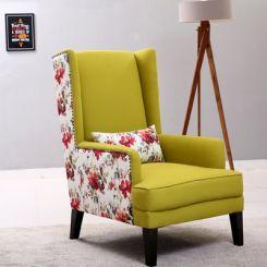 Edwina Wingback Chair (Canary Green)
