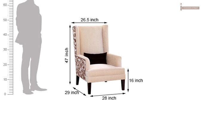 Buy Edwina Wingback Chair Ivory Online In India Wooden