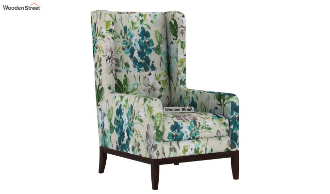 Joan Wingback Chair (Aqua Flower)-2
