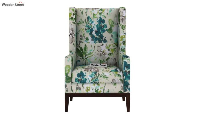 Joan Wingback Chair (Aqua Flower)-3