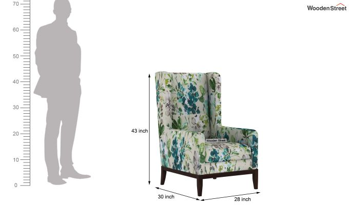 Joan Wingback Chair (Aqua Flower)-4