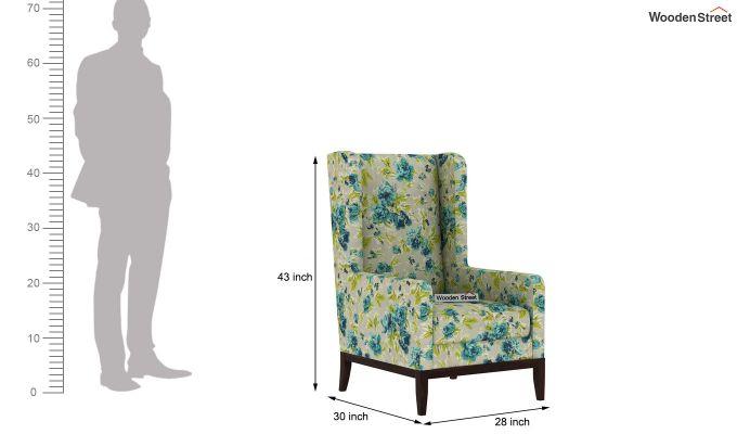 Joan Wingback Chair (Fabric, Teal Tulip)-4