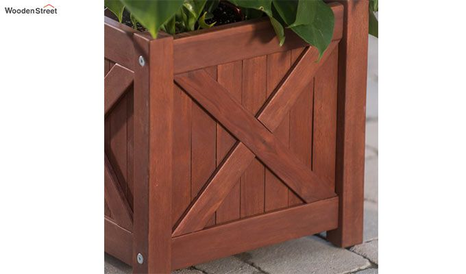 Fern Square Planter Box (Honey Finish)-3