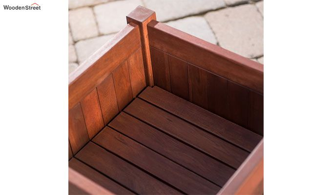 Fern Square Planter Box (Honey Finish)-4
