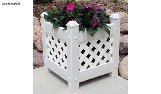 Thore Square Planter Box (White Finish)-1