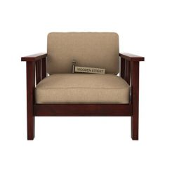 Mcleod 1 Seater Wooden Sofa (Mahogany Finish)