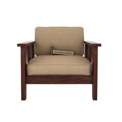 Mcleod 1 Seater Wooden Sofa (Walnut Finish)