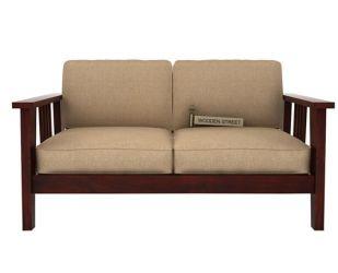 Mcleod 2 Seater Wooden Sofa (Mahogany Finish)