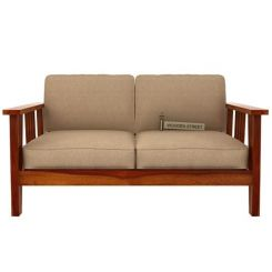 Mcleod 2 Seater Wooden Sofa (Honey Finish)