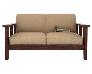 Mcleod 2 Seater Wooden Sofa (Walnut Finish)