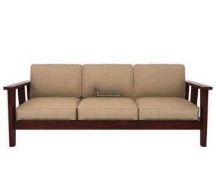 Mcleod 3 Seater Wooden Sofa (Mahogany Finish)
