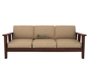 Mcleod 3 Seater Wooden Sofa (Walnut Finish)