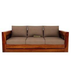 Stegen 3 Seater Wooden Sofa (Teak Finish)
