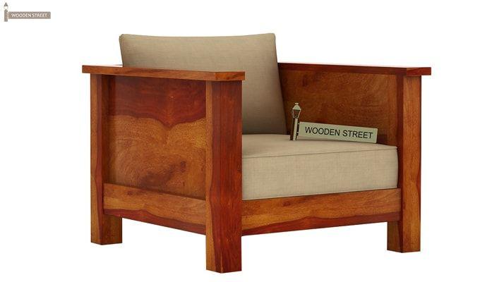 Agnes 1 Seater Wooden Sofa (Honey Finish)-1