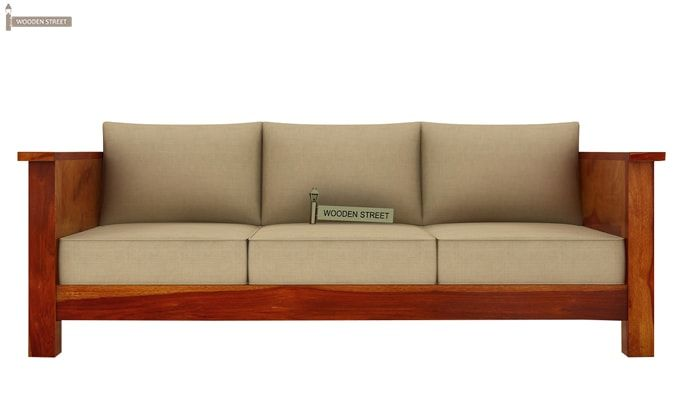 Agnes 3 Seater Wooden Sofa (Honey Finish)-2