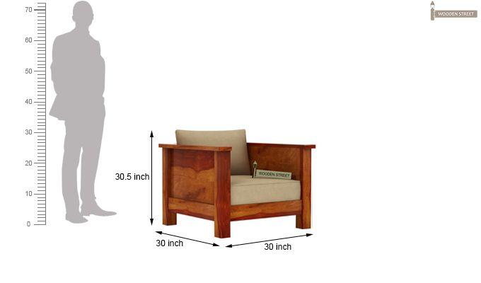 Agnes 1 Seater Wooden Sofa (Honey Finish)-3