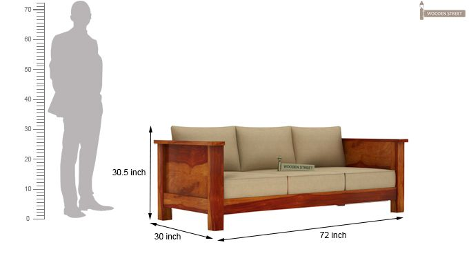 Agnes 3 Seater Wooden Sofa (Honey Finish)-3