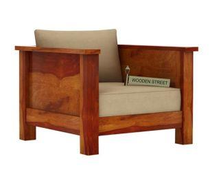 Agnes 1 Seater Wooden Sofa (Honey Finish)