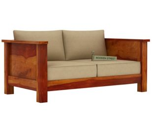 Agnes 2 Seater Wooden Sofa (Honey Finish)