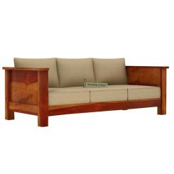 Agnes 3 Seater Wooden Sofa (Honey Finish)