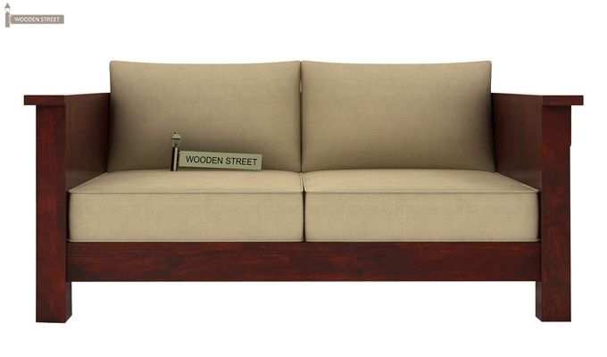 Agnes 2 Seater Wooden Sofa (Mahogany Finish)-2
