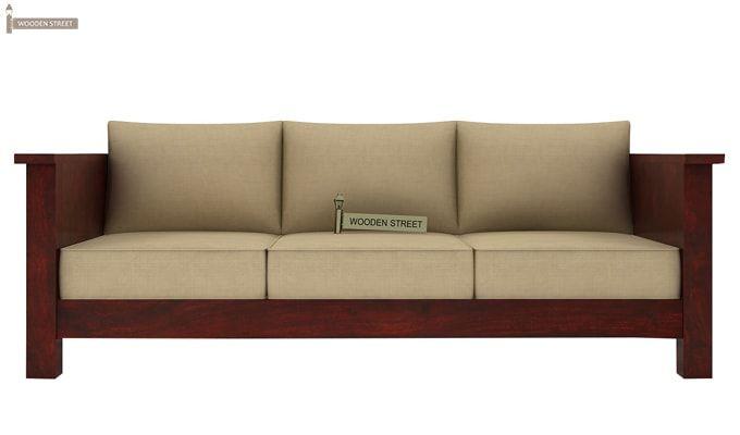 Agnes 3 Seater Wooden Sofa (Mahogany Finish)-2