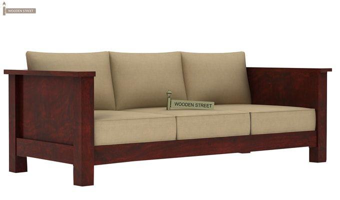 Agnes 3 Seater Wooden Sofa (Mahogany Finish)-3