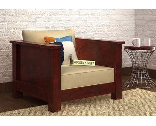 Agnes 1 Seater Wooden Sofa (Mahogany Finish)