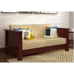 Agnes 2 Seater Wooden Sofa (Mahogany Finish)
