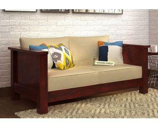 Agnes 2 Seater Wooden Sofa (Mahogany Finish)