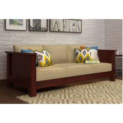 Agnes 3 Seater Wooden Sofa (Mahogany Finish)