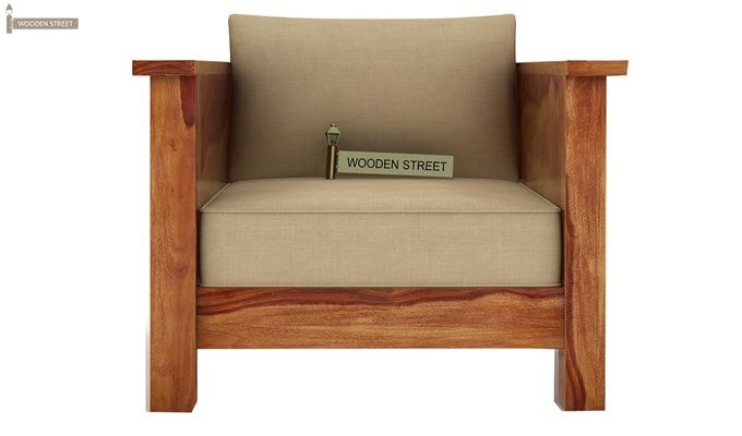 Agnes 1 Seater Wooden Sofa (Teak Finish)-2