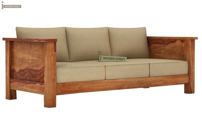 Agnes 3 Seater Wooden Sofa (Teak Finish)-1