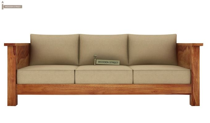 Agnes 3 Seater Wooden Sofa (Teak Finish)-2