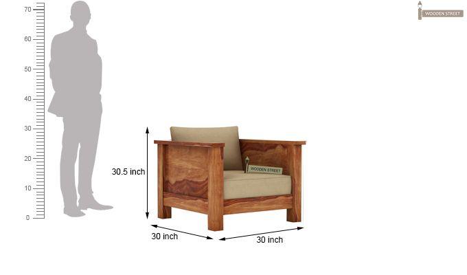 Agnes 1 Seater Wooden Sofa (Teak Finish)-3