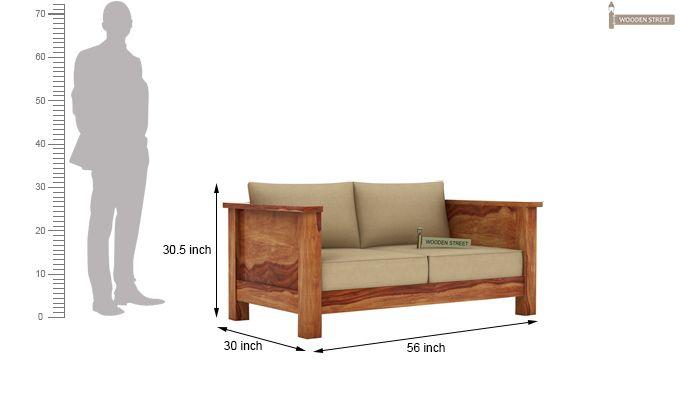 Agnes 2 Seater Wooden Sofa (Teak Finish)-3