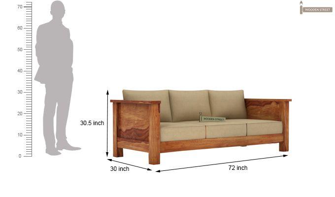 Agnes 3 Seater Wooden Sofa (Teak Finish)-3