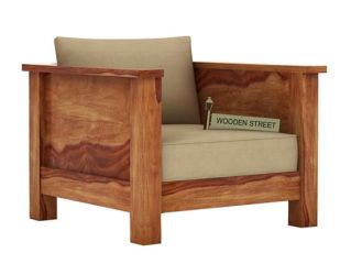 Agnes 1 Seater Wooden Sofa (Teak Finish)