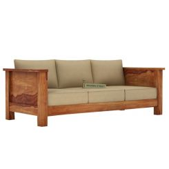 Agnes 3 Seater Wooden Sofa (Teak Finish)