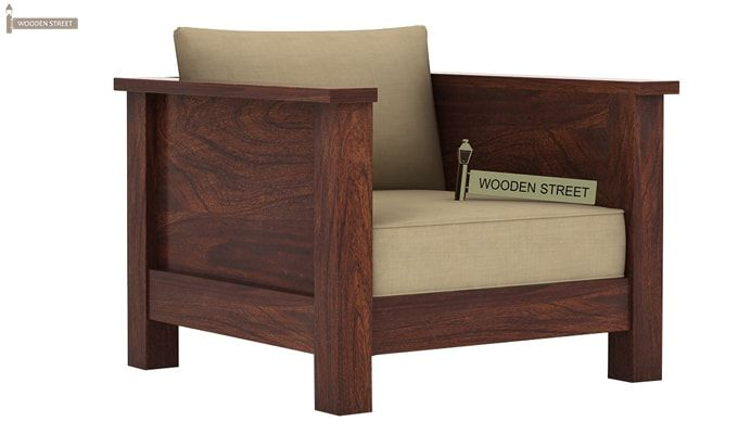 Agnes 1 Seater Wooden Sofa (Walnut Finish)-1