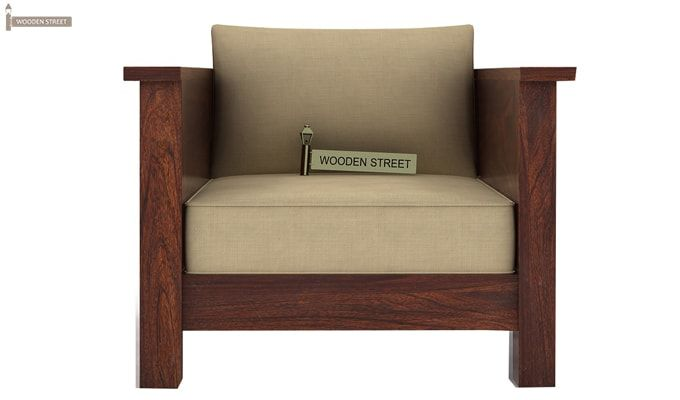 Agnes 1 Seater Wooden Sofa (Walnut Finish)-2