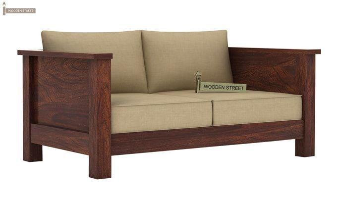Agnes 2 Seater Wooden Sofa (Walnut Finish)-1